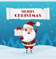 santa claus holding gift box in snowy scene vector image