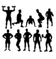 weightlifting and fitness activity silhouettes vector image