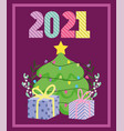 2021 happy new year decorative tree and gift vector image vector image