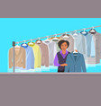 african girl at reception of dry cleaning shop vector image