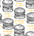 Burger seamless pattern background vector image vector image
