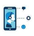 call center boy in smartphone support vector image