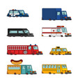 car cartoon set fire engine and police car vector image vector image