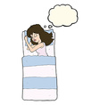 cartoon sleeping woman with thought bubble vector image vector image