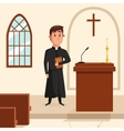 Christian catholic priest preaching at church vector image