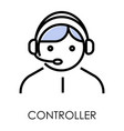 controller isolated icon operator in headset vector image