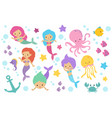 cute cartoon mermaids sea animals and ocean life vector image vector image