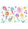 cute cartoon mermaids sea animals and ocean life vector image