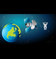 earth scene with astronaut and satellite vector image