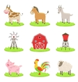 Farm Associated Animals And Objects Set vector image vector image