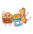 fast food cute burger french fries and hot dog vector image vector image
