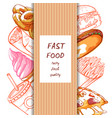 fast food hand drawn set on white vector image vector image