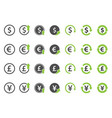 finance icon set currency exchange signs vector image vector image