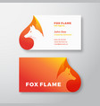 fox flame abstract logo and business card vector image