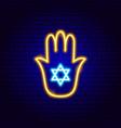hand david star neon sign vector image