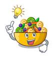 have an idea dessert of fruits salad on cartoon vector image