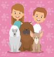 kids with pets characters vector image vector image