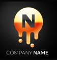 letter n splash logo golden dots and bubbles vector image vector image