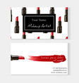 makeup artist business card template red lipstick vector image