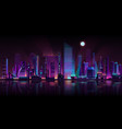 metropolis night landscape neon cartoon vector image vector image