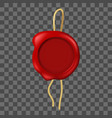 realistic 3d detailed red wax seal vector image vector image