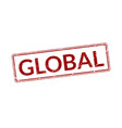 red stamp with word global rubber seal with vector image