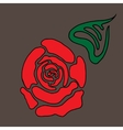 Red stylized rose with leaf vector image