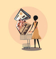 retro shopping woman with handcart gift box and vector image