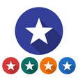 round icon star flat style with long shadow in vector image