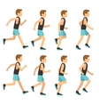 Running athletic man in tracksuit animation frame vector image