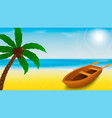 summer beach template with rowing boat and palm vector image vector image