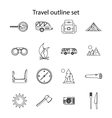 Travel icons set outline style vector image vector image