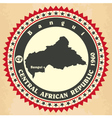 Vintage label-sticker cards of Central African Rep vector image