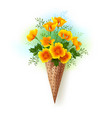 waffle cone with california poppy vector image vector image