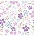 white dancing flowers seamless pattern vector image