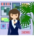 Woman journalist with microphone is a news service vector image
