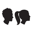 Woman and man head silhouette vector image