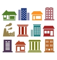 colorful icons with urban architecture vector image