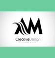 am a m creative brush black letters design with vector image vector image