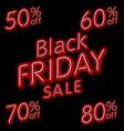 Black Friday Sale 50 60 70 80 retro light frame vector image