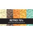 brick pattern set retro 70s seamless brick vector image vector image