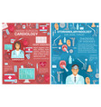 cardiology otolaryngology medicine clinic posters vector image vector image