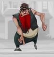 cartoon dancing man biker with long red beard vector image vector image