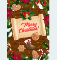 christmas wreath xmas tree and old scroll vector image vector image