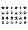 coffee cup silhouette icons hot drinks cups mug vector image vector image