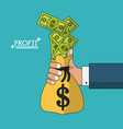 colorful poster with hand holding profit money in vector image