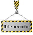 Construction plate with crane hook and chain vector image vector image