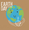 cute earth character with birthday cake earth day vector image vector image
