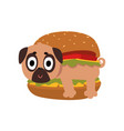 cute pug dog in hamburger funny dog character vector image vector image