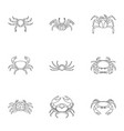 different crab icons set outline style vector image vector image